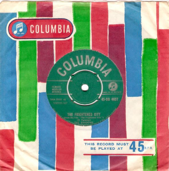 THE SHADOWS The Frightened City Vinyl Record 7 Inch Columbia 1961